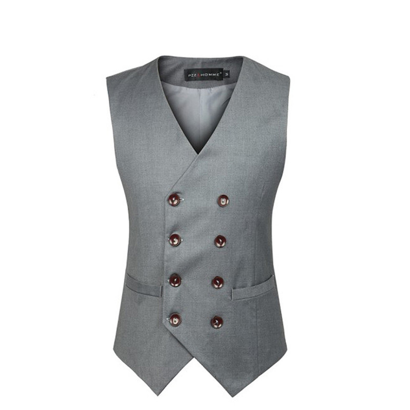 Brand Clothing Men's Double Breasted Dress Suit Vest Men Formal Black Gray Vests Suit Gilet High Quality Colete Masculino