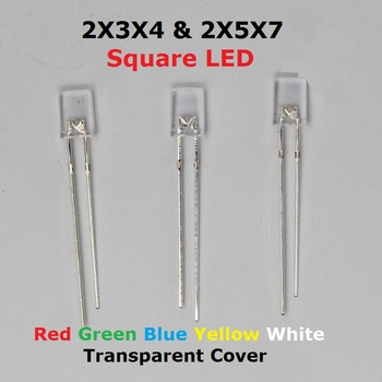 100PCS kwadrat 2x5x7 2x3x4 przezroczysta dioda led 2*3*4 2*5*7 żółty czerwony wysoki jasny koralik rozproszone dioda elektroluminescencyjna niebieska lampa zielony