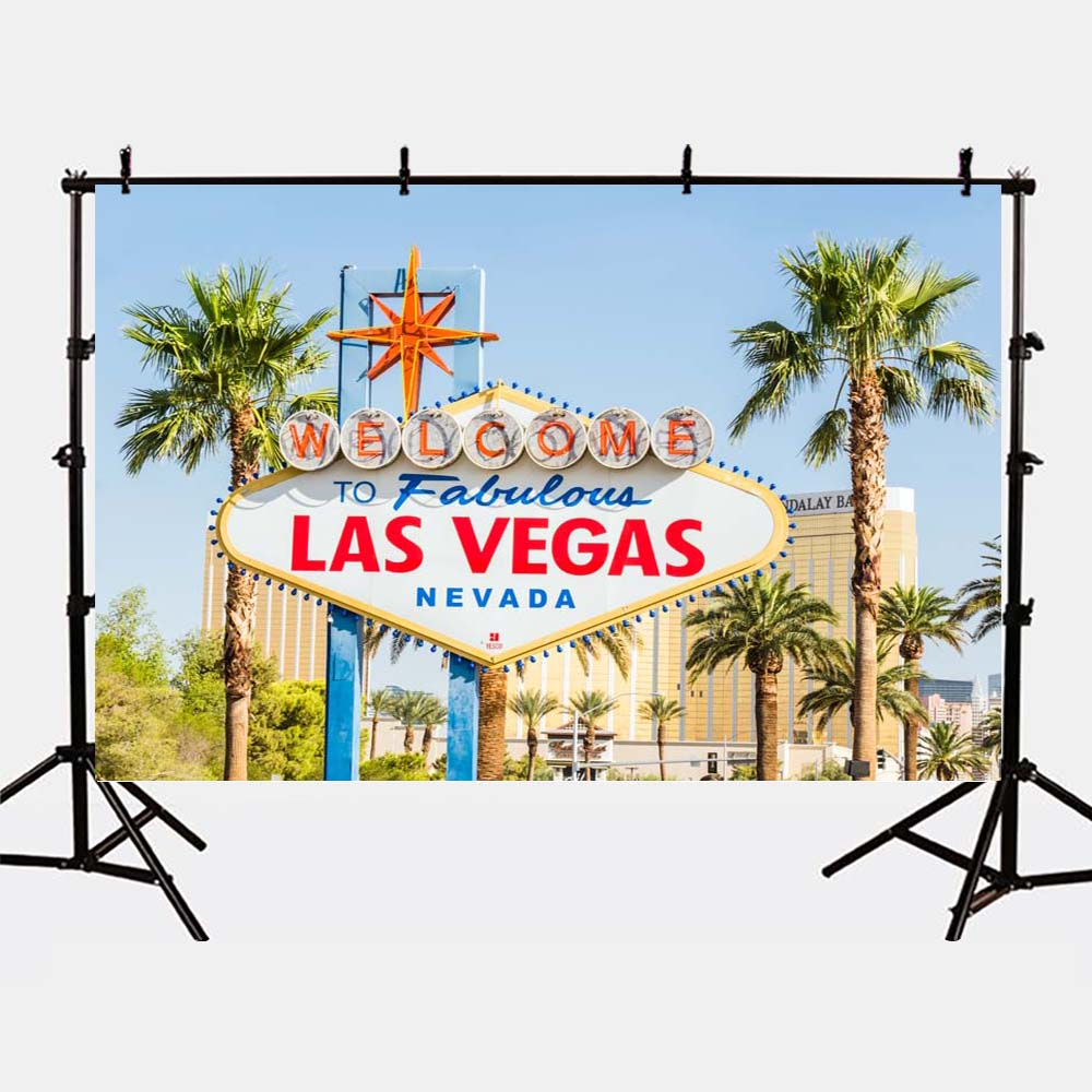 Mehofoto Las Vegas Background Palm Tree Backdrops for Photography Studio Meet Photo Backgrounds G-166