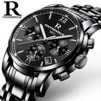 Business male wrist watches quartz men clocks Mens black stainless steel waterproof calendar luxury luminous Japanese movement