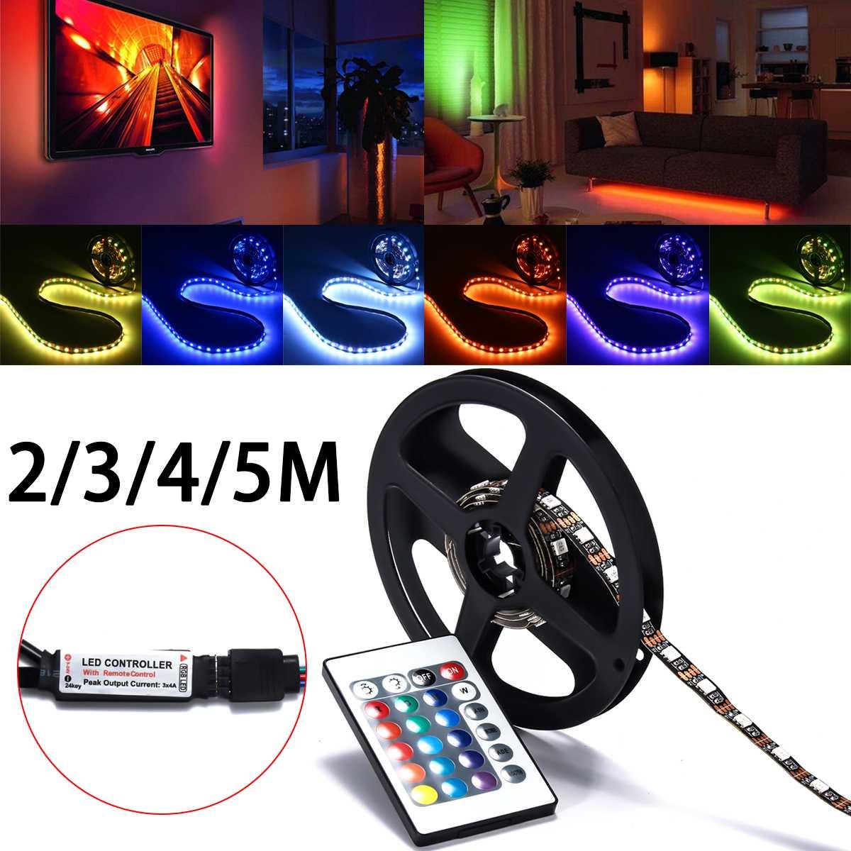 0.5/1/2/3/4/5M LED Non-waterproof RGB Led Strip Light 5050 DC5V 60smd/M Flexible Lighting Ribbon Tape Remote Control