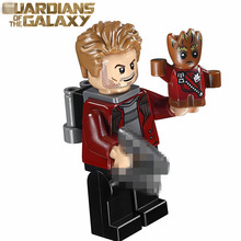 Single Sale Movie MARVEL Guardians of the Galaxy Vol.2 Star-Lord with baby groot Super heroes DIY Blocks minifig Kids Toys