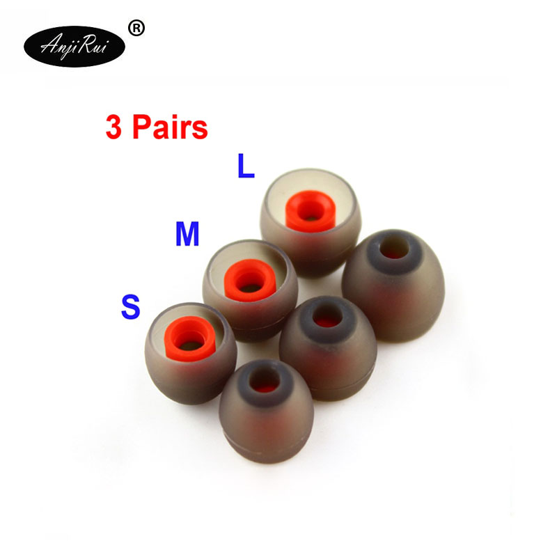 6 pcs/3pair. ANJIRUI 4.0 mm (L m s)  Ear Pads/cap for in-Ear Headphones Silicone eartips/Ear sleeve silicone Headset Accessories