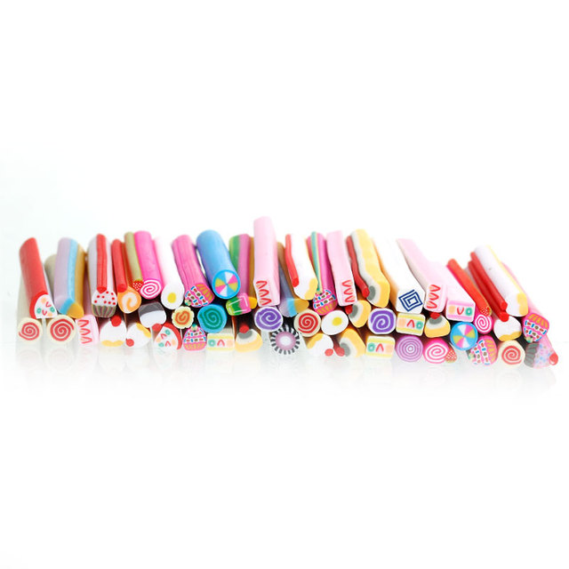 Polymer Clay Nail Art Canes Slices Decoration Multicolor Cake