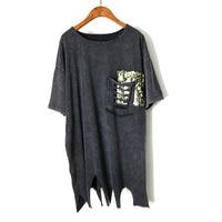 Estate Donne Casuali T-Shirt Plus Size Abbigliamento Donna Manica Corta bordo Irregolare Stretch Top Fashion scava fuori Tasche Tees