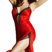 Ladies Sexy Silk Satin Night Dress Sleeveless V-neck Nightgown Nightdress Lace Sleepwear Split ends  Nightwear