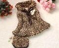 Девочки леопардовый искусственного лисий мех воротник пальто одежда с сумочка осень зима одежда младенцы дети верхняя одежда платье куртка