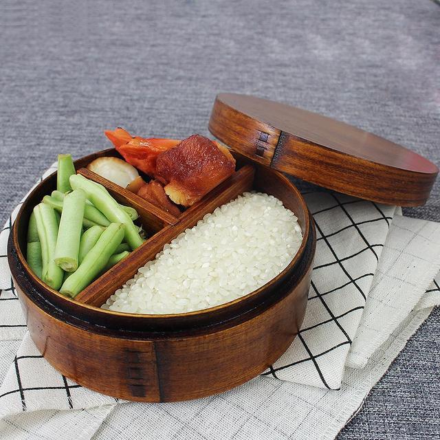 Японский Коробки для обедов натуральный деревянная шкатулка круглая три Сетка Дерево Bento box студент посылка коробка суши случае