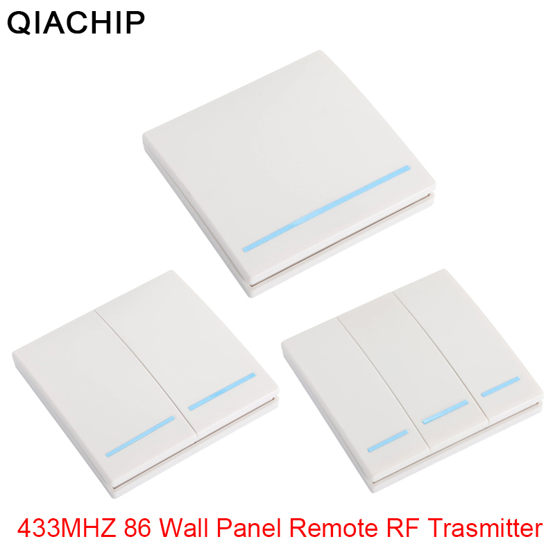 QIACHIP 433 Mhz Wireless RF Wall Panel Transmitter And AC 110V 220V 1 CH Remote Control Switch Relay Receiver Hall Bedroom Light