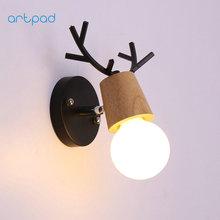 Artpad Children Lovely Wood Metal Indoor Wall Light Led Modern Antlers Shape Lamp Aisle Manufacturer Directly Sale