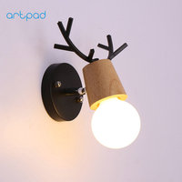 Artpad Children Lovely Wood Metal Indoor Wall Light Led Modern Antlers Shape Wall Lamp Aisle Manufacturer Directly Sale