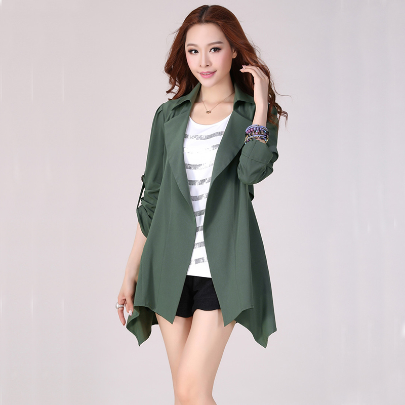 Wholesale 2018 quick sell women   trenchs   fall of the new windbreaker Korean style large size plus size solid long coats 9192