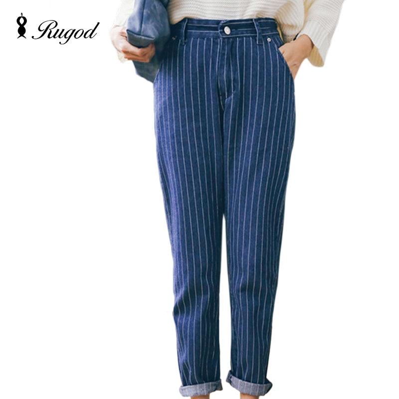 2017 New Slim Pencil Pants Vintage Mid Waist New Women Jeans Fashion Full Length Loose Stripe