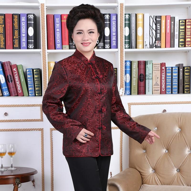 Traditionnel chinois vêtements amoureux robe longévité mariage Cheongsam chemise Oriental vêtements magasin dames soie Satin Blouses