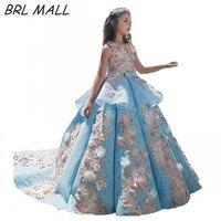Gorgeous 2018 Sky Blue Flower girl Dresses Ball gown 3D Flowers Beautiful girls pageant dress first communion dresses for girls