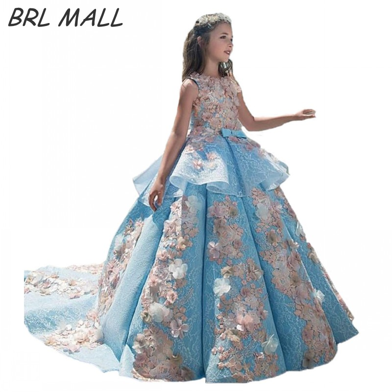 Gorgeous 2018 Sky Blue   Flower     girl     Dresses   Ball gown 3D   Flowers   Beautiful   girls   pageant   dress   first communion   dresses   for   girls