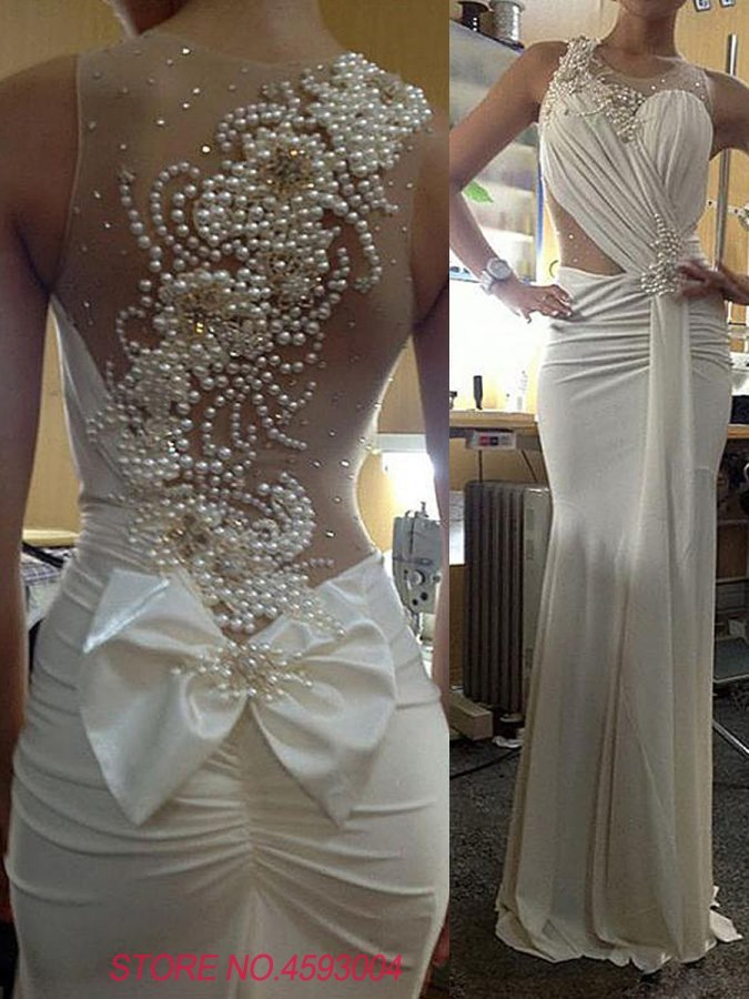 robe de mariage Ensotek Sheer Neck Beaded Pearls Back Sheath Wedding Gowns Elegant Bridal Gowns vestido de noiva Customized