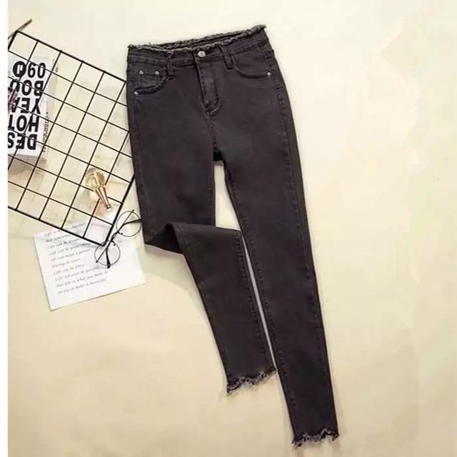 Women Denim Pants Black Color Donna Stretch Bottoms Feminine Skinny Pants Trousers 2