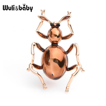 Wuli&baby Brown Enamel Ant Brooches Women Men Alloy Love Insects Brooch Pins Gifts