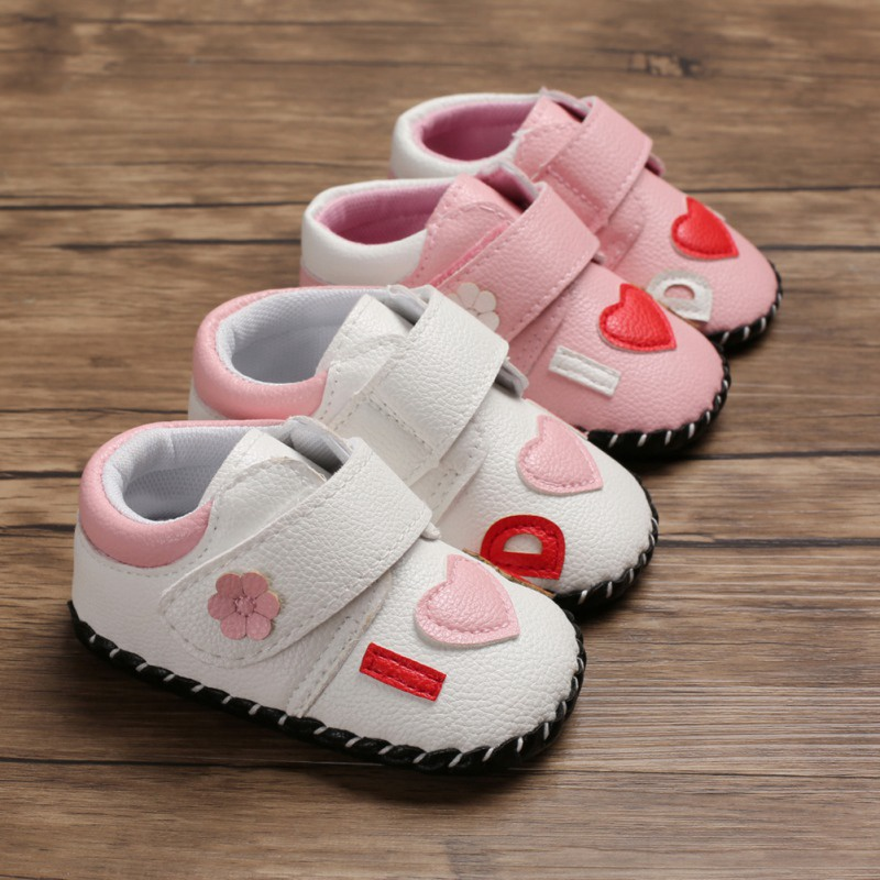 Spring PU I Love Mom Dad Baby Girls First Walkers Soft Sole Non-Slip Princess Shoes