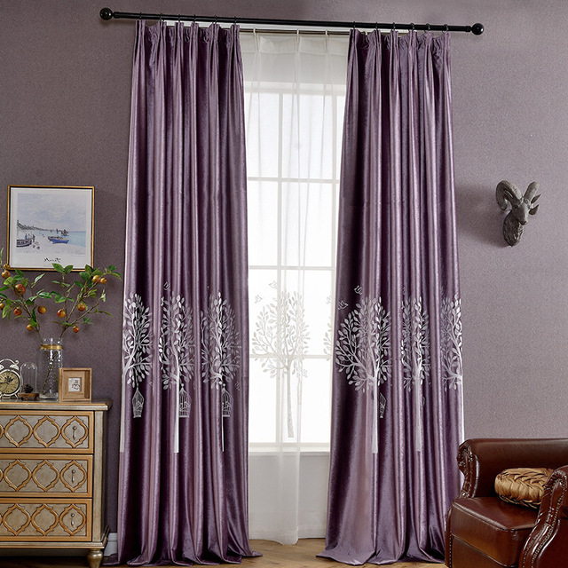 Luxury Purple Plant Tree Embroidered Curtain For Bedroom White Window Voile Tulle Blue Velvet Blackout Curtains Living Room