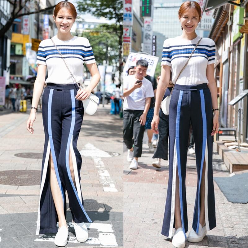 Rayas Ancha Leggings Costura Azul De Mujeres Mujer Cintura Las cuerno Micro Cuero Distancia Lulu Alta Moda 2017 Pantalones Nuevas Pierna Tenedor vHqEq