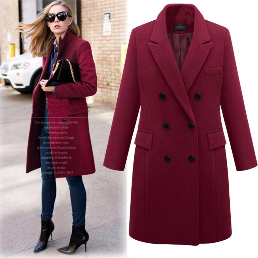 Plus Size 5XL Oversized Overcoat Women Winter Warm Thicken Double Breasted Windproof Jacket Slim Fit Long Woolen Coats WDC1686