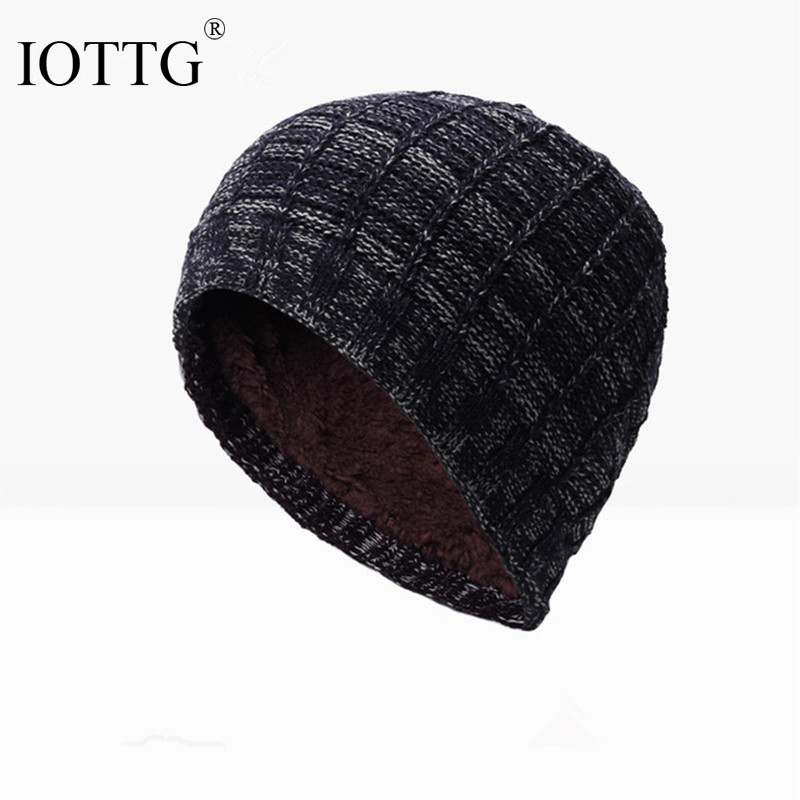 Brand IOTTG Winter Men Women Unisex Skullies Beanies Internal Plush Keep warm Hedging Cap Knit Knitting Caps Bonnet Simple Hat skullies