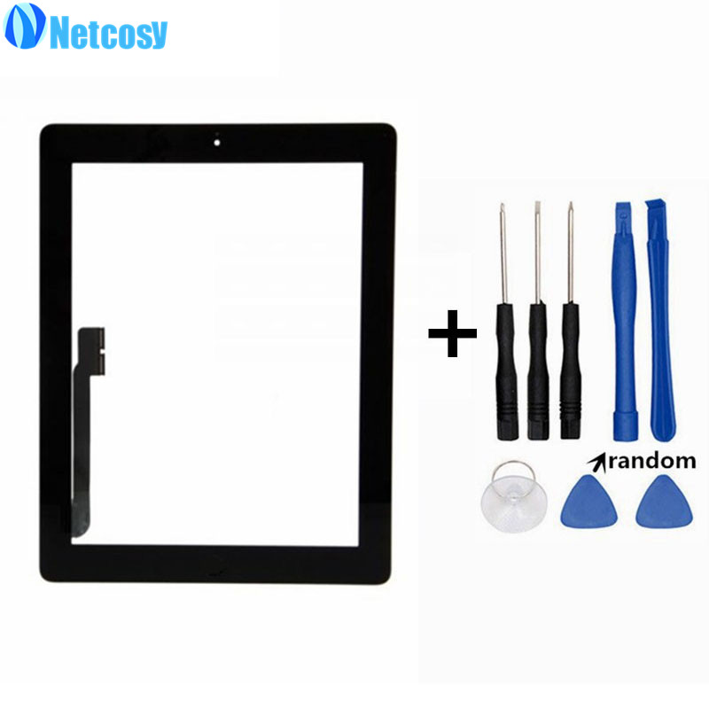 Netcosy For ipad 3 Touchscreen Black White Touch Screen Digitizer Home Button Assembly For ipad 3 Tablet touch panel & Tools mimi® for ipad mini touch screen digitizer ic chip home button and flex cable assembly wifi or cellular or with retina display model a1432 a1454 a1455 a1489 and a1490