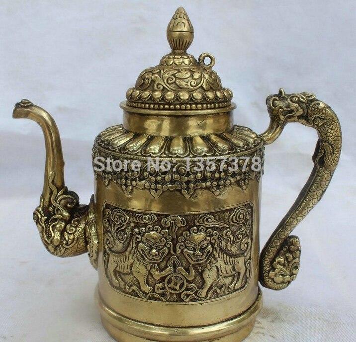 "SCY 00613 10"" China Chinese Palace Brass Two Lion Ball Dragon Handle Wine Tea Pot Flagon Bronze Statue discount 30% (C0324)(China (Mainland))"