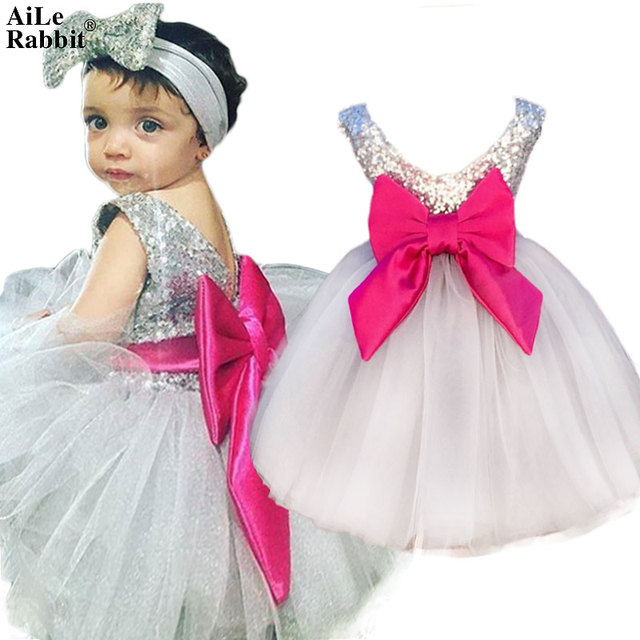 672d68ed5c US $10.37 45% OFF|AiLe Rabbit New Girls Baby Wedding Dress Headband 2pcs  Party Girl Fashion Sequins Poncho Dress Big Bow Children's Clothes k1-in ...