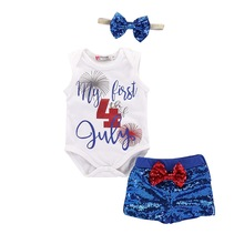 Baby Girls Short Sleeve Independence Day Star With Striped Lace+Bow Sequined Mesh Skirt+Hair Strap+Shorts Set Print Letter D25