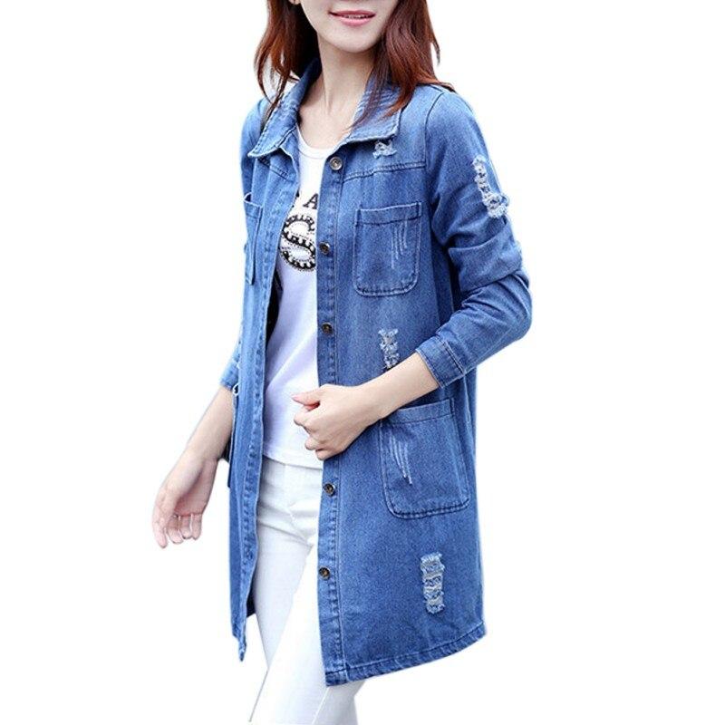 2017 Frauen Herbst Winter Graben Mode Jeans Mantel Frauen Grundlegende Mäntel Lose Denim Blusen Langarm Casual Plus Größe S-5xl Neue Hohe QualitäT Und Preiswert