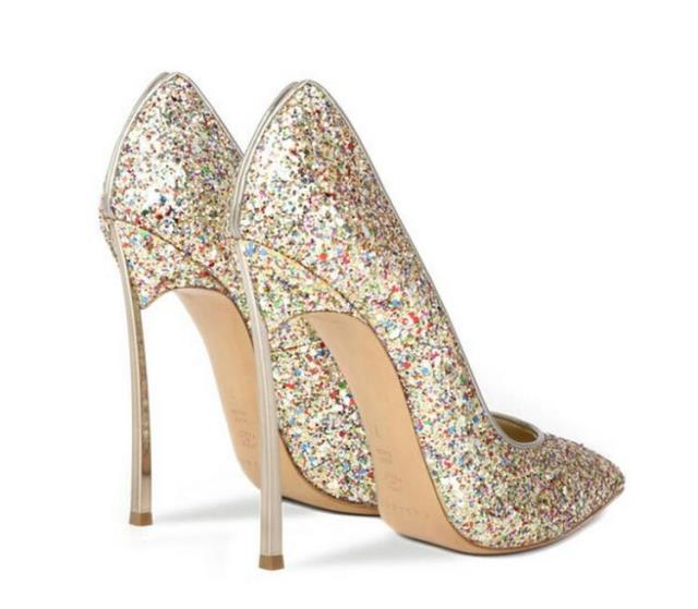 High Heels Women Pumps Pointed Toe Glitter Gold Wedding Shoes Red Wedding Shoes Metal Thin Heels Sexy Women Pumps Black Silver wedding shoes bridal platform heels spring pumps gold shoes heels peep toe women s pumps silver high heels sexy pumps yma134