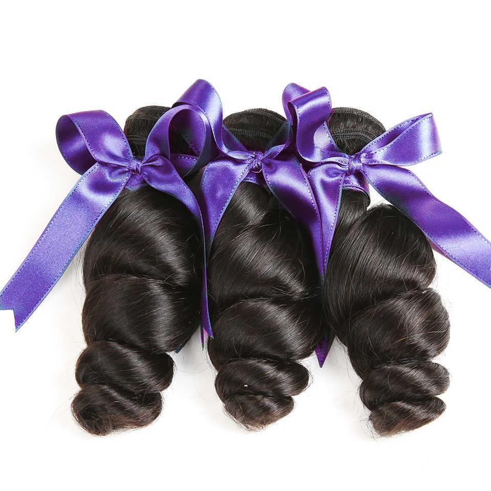 Extensiones de cabello humano Karizma con mechones de cabello peruano con ondas sueltas y cierre de encaje, parte libre de tejido de cabello no Remy
