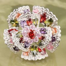 Delightful Flowers Multi color Morganite Topaz 925 Sterling Silver Fashion Trendy Women s Jewelry Rings Size