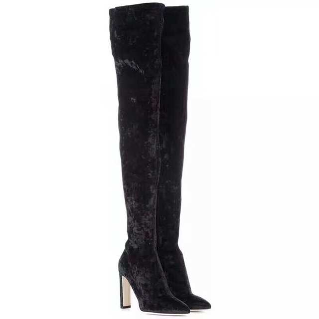 bb4f9684a5a Celebrity Champagne Gold Black Velvet Long Boots Over-the-knee Pointed Toe  Dress Boots