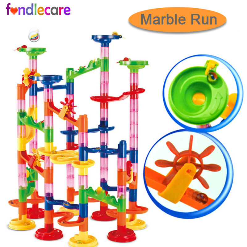 US $6 09 30% OFF|Fondlecare 105pcs 3D Pipe Puzzle Marble Race Run Maze Game  Kids DIY educational Building Blocks toy Balls Track toy for Children-in