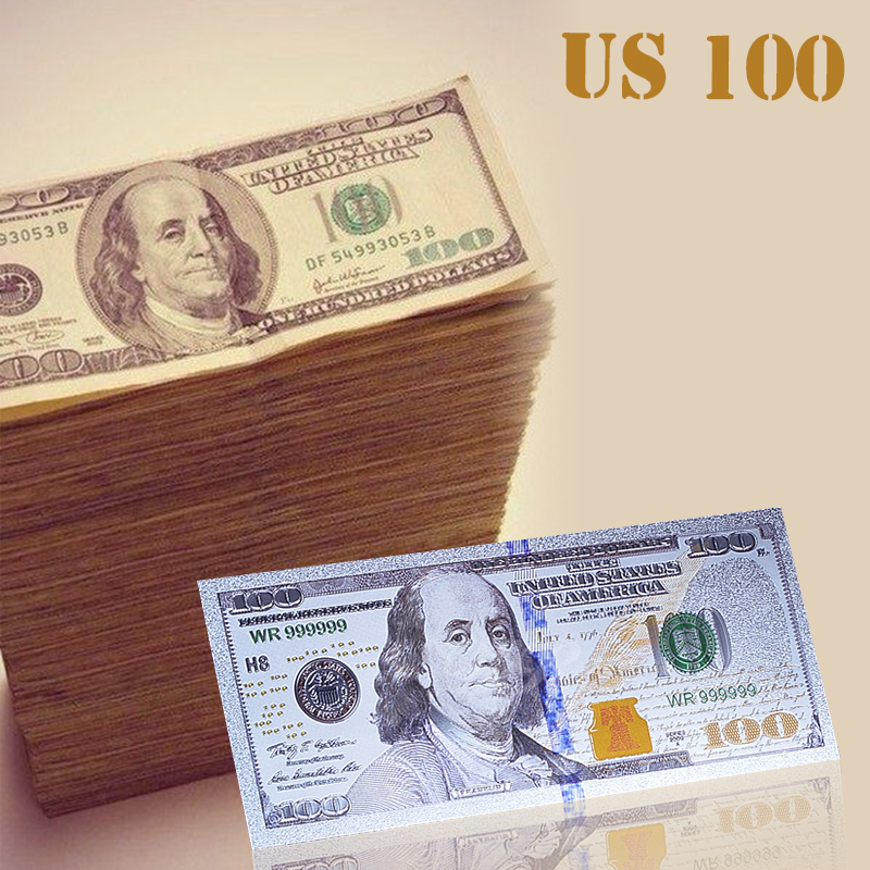 Коллекционный подарок, купюры в долларах США в виде серебряных банкнот, 2011 год