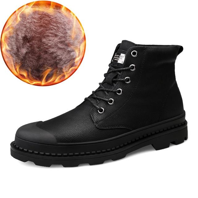 Sonbahar Kış Martin Çizmeler erkek Hakiki Deri yarım çizmeler Yüksek Kalite Moda Iş Brock erkek ayakkabısı Kar Botları Erkekler Büyük