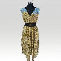 100% Silk Chiffon Leopard Printed Dress Pure Silk Chiffon Women Summer Dresses With Belt