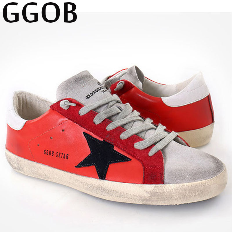 GGOB 2018 Womens Flats Female Casual Shoes Fashion Plus Size Woman Brand Flat With Genuine Leather Cow Leather Sneakers Red free shipping brand simple style genuine leather womens casual jackets plus size soft sheepskin jacket sales slim clothing