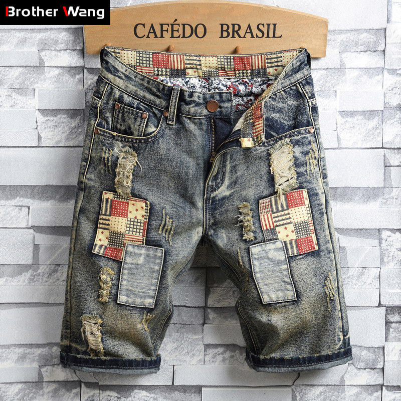 Denim Shorts Men's Casual Summer New-Fashion Brand Hole Male Ripped Retro-Style