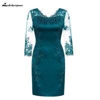 Зеленый с v образным вырезом для матери невесты жениха кружевные платья для Свадебная вечеринка невесты платье для матери платье vestido de madrinha