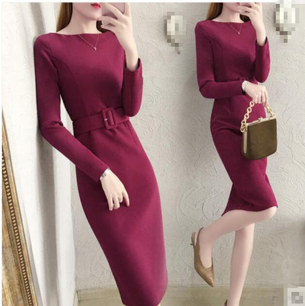 Vin rouge à manches longues tunique hiver robe coréenne mode bureau filles robes
