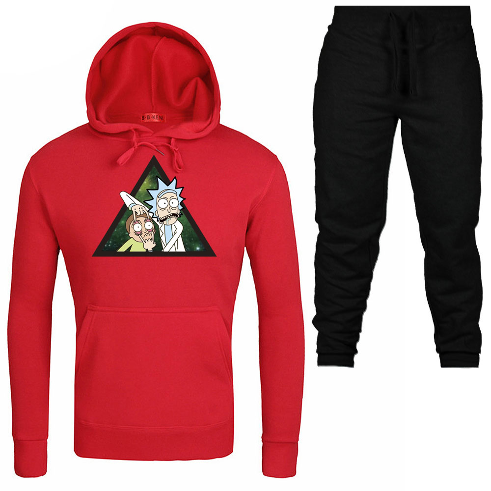 fe88cab5a 2019 Autumn hip hop Hoodies+Pants Suit Men Fashion Cool Rick Morty Pullover  printing Turtleneck Sportswear Sweatshirt Tracksuits