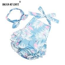Детская одежда из хлопка с оборками и фламинго комбинезон повязка