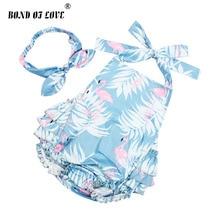BOND OF LOVE Baby Cotton Ruffled Flamingo Rompers & Headband Set