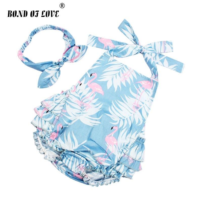 2018 nuevo bebé niña ropa Lucky Child algodón Ruffled Flamingo mamelucos y Diadema Set recién nacido fotografía accesorios regalo de Navidad