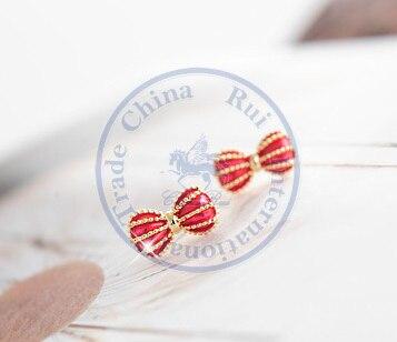 Stud Earrings ear rings Fashion for women Girls lady multi color bowknot golden strips desgin CN post